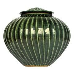 Celadon Jade Green Glazed Stoneware Lidded Vessel