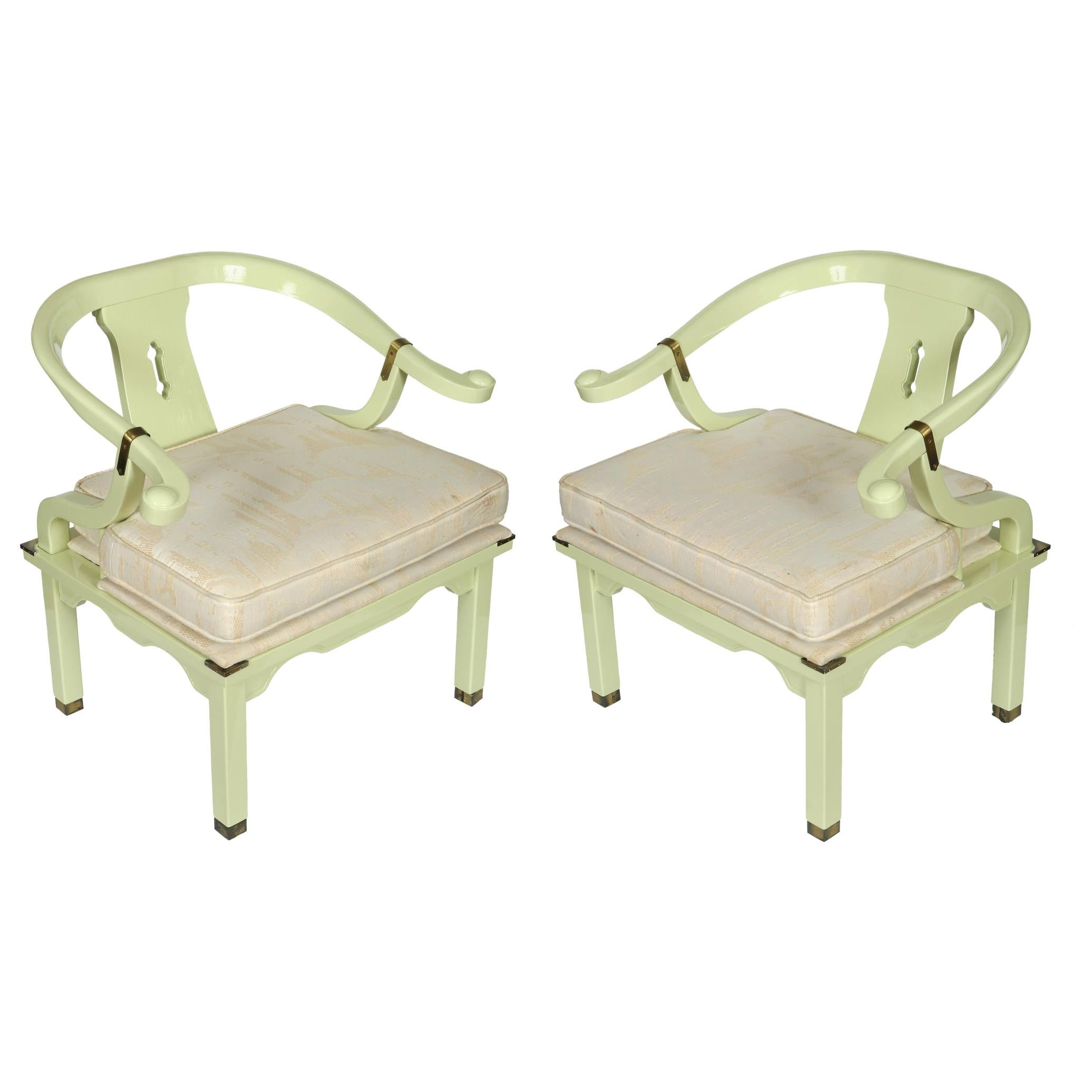 Celadon Lacquered Midcentury James Mont Style Ming Chairs