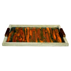 Celadon Shagreen Tray with Handles