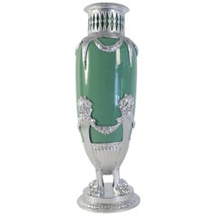 Celadon Vase in Faience, Silver Plate and Silver Leaf, 19th Century Period
