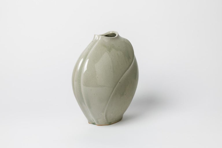 Mid-Century Modern Celadon Xxth Century Abstract Porcelain Ceramic Vase by Askett French Design For Sale