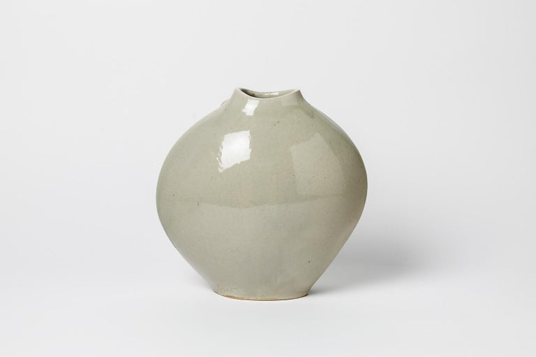 20th Century Celadon Xxth Century Abstract Porcelain Ceramic Vase by Askett French Design For Sale