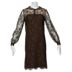 Cele Peterson Brown Illusion Lace Lolita Cocktail Dress - Small, 1960s