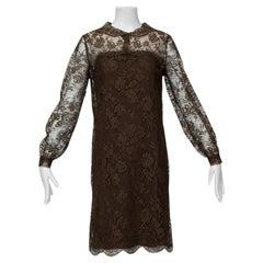 Cele Peterson Brown Lace A-Line Cocktail Dress, S 1960s