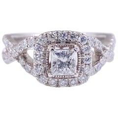 Celebration 102 Princess Diamond Halo Ring 1.02 Carat in 14 Karat Gold