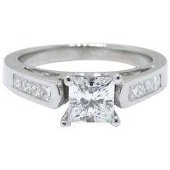 Celebration 18 Karat White Gold Diamond Ring Princess Cut 1.25 Carat F SI1
