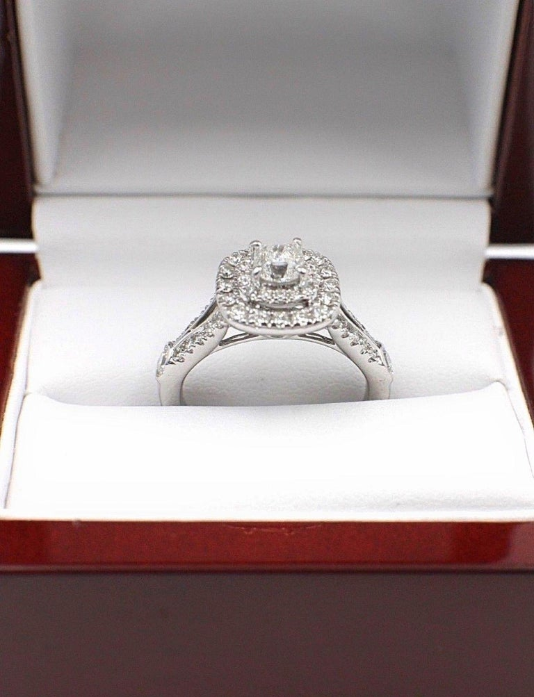 Celebration Cushion Diamond Ring Double Halo 1.20 Carat 18 Karat White Gold For Sale 5