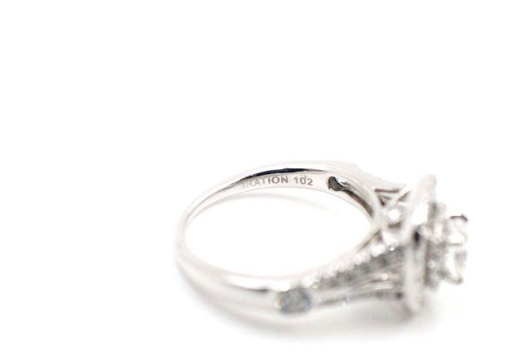 Cushion Cut Celebration Cushion Diamond Ring Double Halo 1.20 Carat 18 Karat White Gold For Sale
