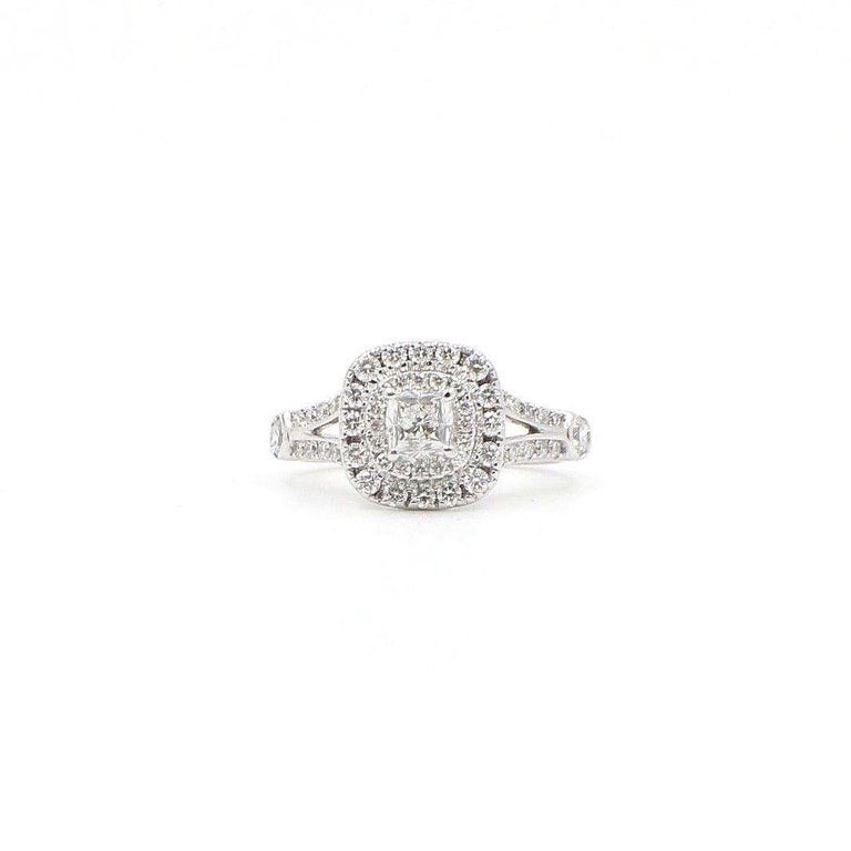 Women's Celebration Cushion Diamond Ring Double Halo 1.20 Carat 18 Karat White Gold For Sale
