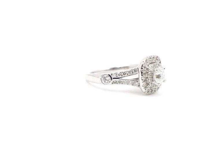 Celebration Cushion Diamond Ring Double Halo 1.20 Carat 18 Karat White Gold For Sale 1