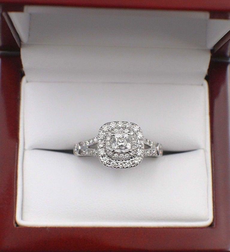 Celebration Cushion Diamond Ring Double Halo 1.20 Carat 18 Karat White Gold For Sale 4