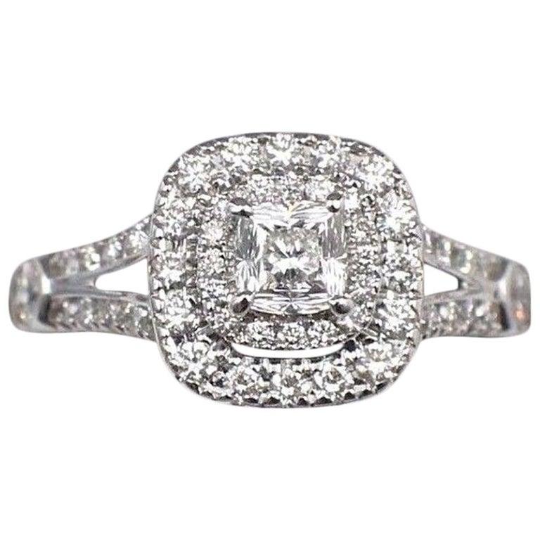 Celebration Cushion Diamond Ring Double Halo 1.20 Carat 18 Karat White Gold For Sale