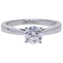Celebration Diamond Engagement Ring Round 0.97 Carat D SI2 18 Karat White Gold