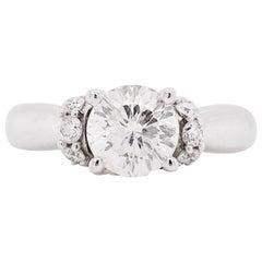 Celebration Diamond Ring, Cathedral Engagement Ring, 14 Karat Gold, .88 Carat