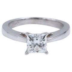 Celebration Princess Diamond Ring 1.09 Carat H SI1 18 Karat White Gold