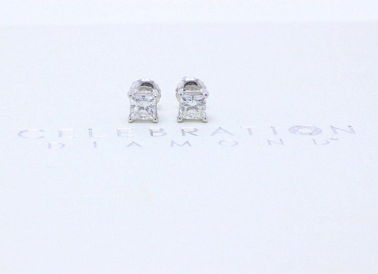 CELEBRATION DIAMOND Style:  Diamond Stud Earrings Serial Number:  CEL552093 0.49 CT H SI2 / CEL552076 0.49 CT H SI1 Metal:  18KT White Gold Total Carat Weight:  0.98 TCW Diamond Shape:  Princess Cuts Diamond Color & Clarity:  H - SI1 / H -