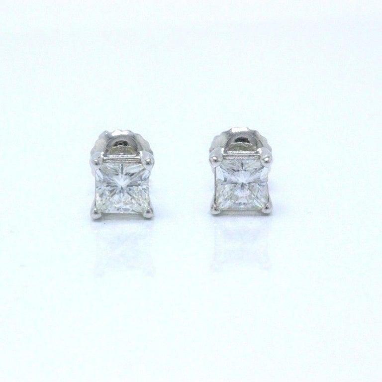 Celebration Princess Diamond Stud Earrings 0.98 TCW 18K White Gold w/Certificate For Sale 2