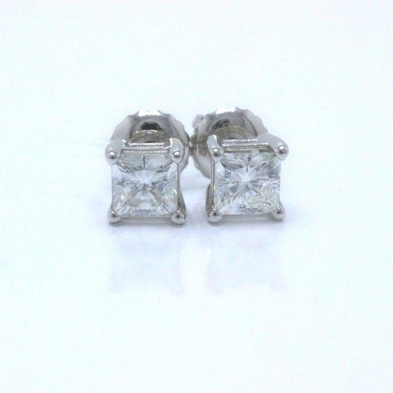 Celebration Princess Diamond Stud Earrings 0.98 TCW 18K White Gold w/Certificate For Sale 3