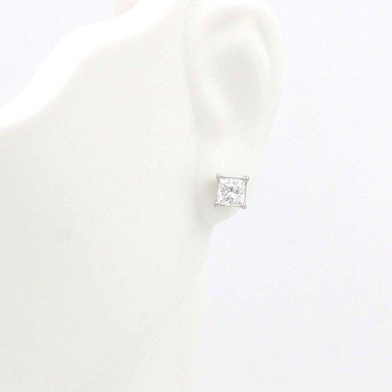 Celebration Princess Diamond Stud Earrings 0.98 TCW 18K White Gold w/Certificate For Sale 4