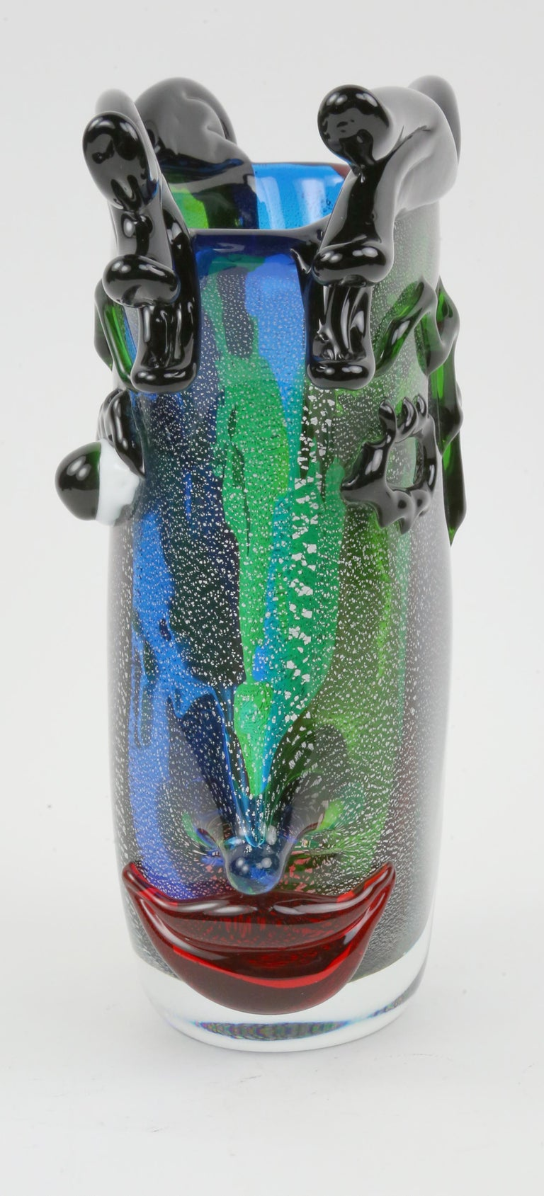 Italian Celebration to Picasso 2 Large Murano Art Glass Abstract Face Vases Estate Find For Sale