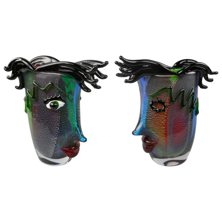 Celebration to Picasso 2 Large Murano Art Glass Abstract Face Vases Estate Find For Sale