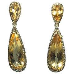 Celebrity 18 Karat Yellow Gold Cognac Diamond and Citrine Drop Earrings