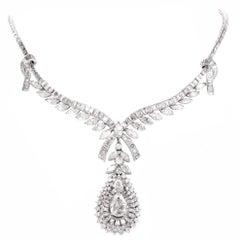Celebrity 33.01 Carat Baguette Pear Diamond Platinum Drop Necklace