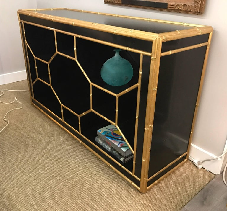 American Celerie Kemble for Henredon Black & Gold Faux Bamboo Console Table Credenza Bar For Sale