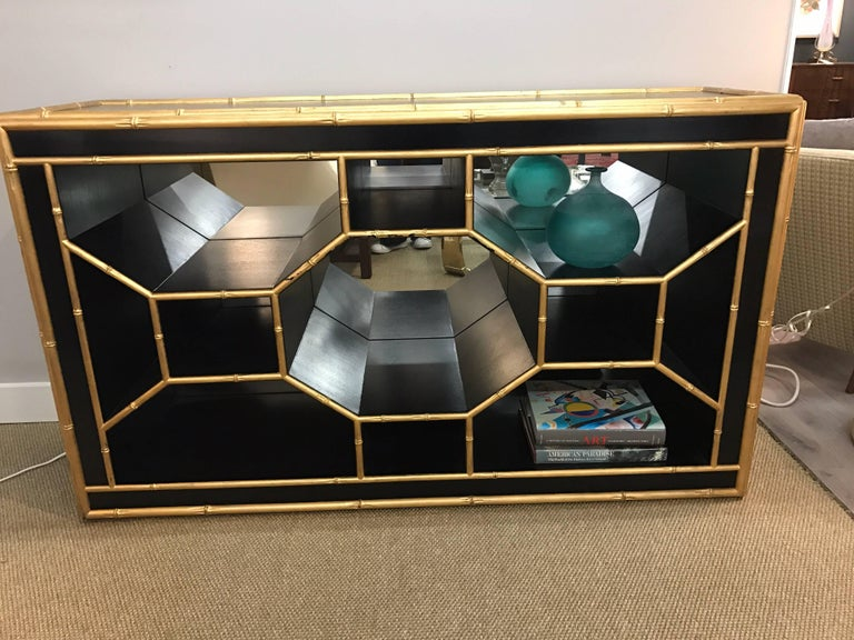 Contemporary Celerie Kemble for Henredon Black & Gold Faux Bamboo Console Table Credenza Bar For Sale