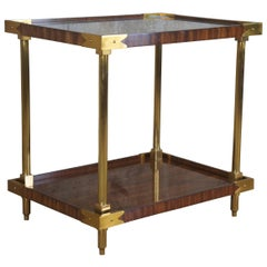 Celerie Kemble Henredon William Two Tier Mahogany Rosewood Brass End Table