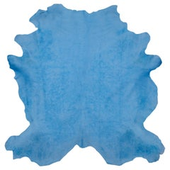 Celeste Blue Genuine Large European Cowhide Hair Rug