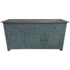 Celeste Blue Modern Moroccan Hand Carved Three Drawer Console or Dresser