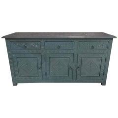 Celeste Blue Modern Moroccan Hand Carved Three-Drawer Console or Dresser