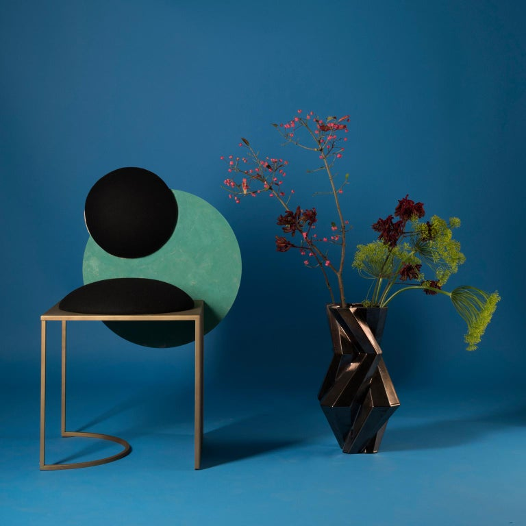 Metal Celeste Chair in Black Fabric Verdigris Copper and Steel by Lara Bohinc For Sale