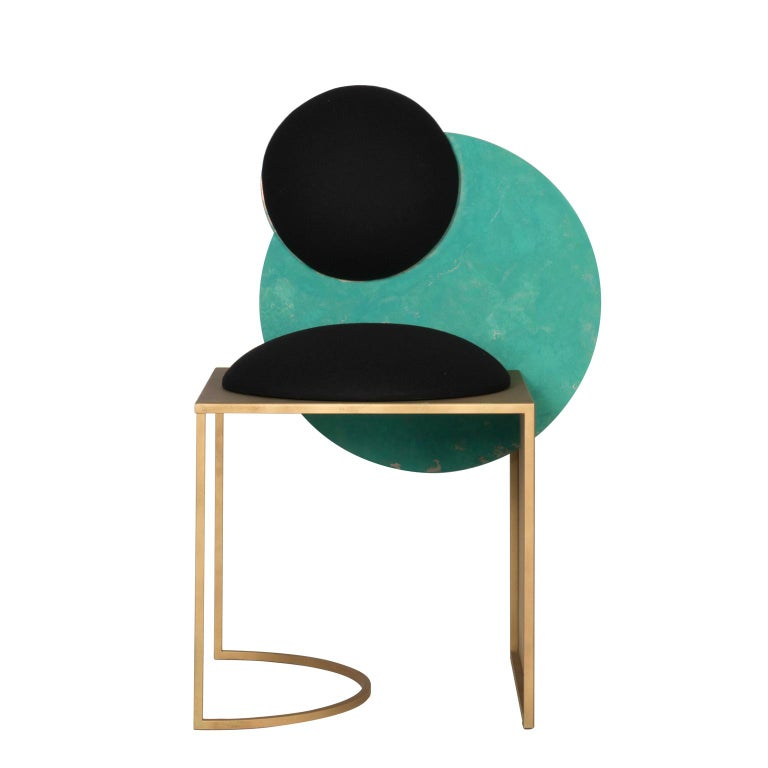 Celeste Chair in Black Fabric Verdigris Copper and Steel by Lara Bohinc For Sale