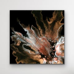 Black Abstract Modern Painting, Large Giclee Print, LE Signed by artist.