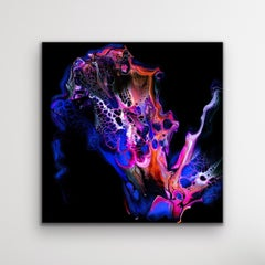 Black Contemporary Abstract Painting, Fluid Wall Art, Giclee, by Celeste Reiter