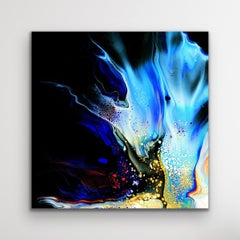 Black Contemporary Painting, Modern Large Indoor Outdoor Giclee Print on Metal