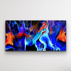 Contemporary Modern Art, Black Abstract Painting, LE Print Signed by artist.