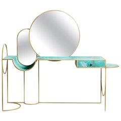 Celeste Vanity Console, Verdigris Copper, Steel Frame and Mirror, Lara Bohinc