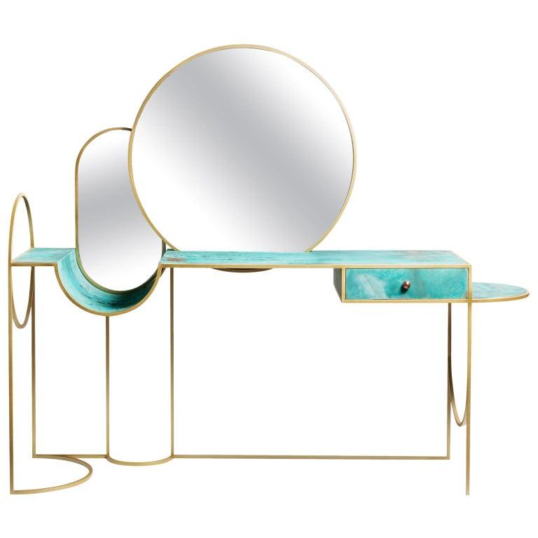 Celeste Vanity Console, Verdigris Copper, Steel Frame and Mirror, Lara Bohinc For Sale