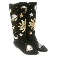 Celestial Black Suede Metallic Appliqué Moons, Stars, Planets & Sun Boots c 1990