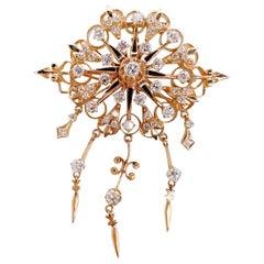 Celestial Diamond and Enamel Brooch and Pendant