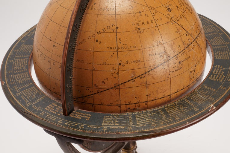 Celestial Globe Con Tripode, USA, 1900 In Excellent Condition In Milan, IT