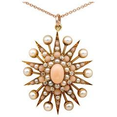 Celestial Victorian Angel Skin Coral Natural Split Pearl Rare 19 KT Star Pendan