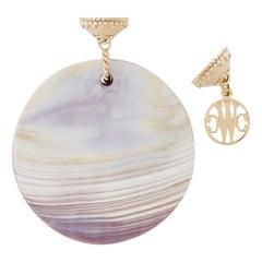 White, Tan, and Purple Celestial Wampum Quahog Necklace Pendant