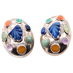Celia Harms Sterling Silver Multi-Gemstone Earrings Designer, Celia Harms Mater