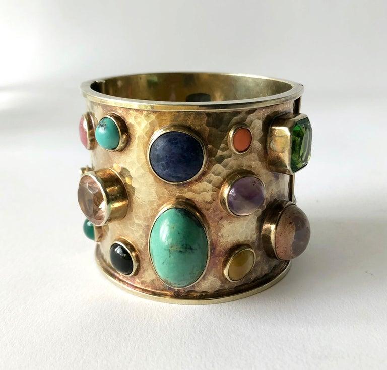 Modernist Celia Harms Sterling Silver Vermeil Semi Precious Gemstone Hinged Cuff Bracelet For Sale