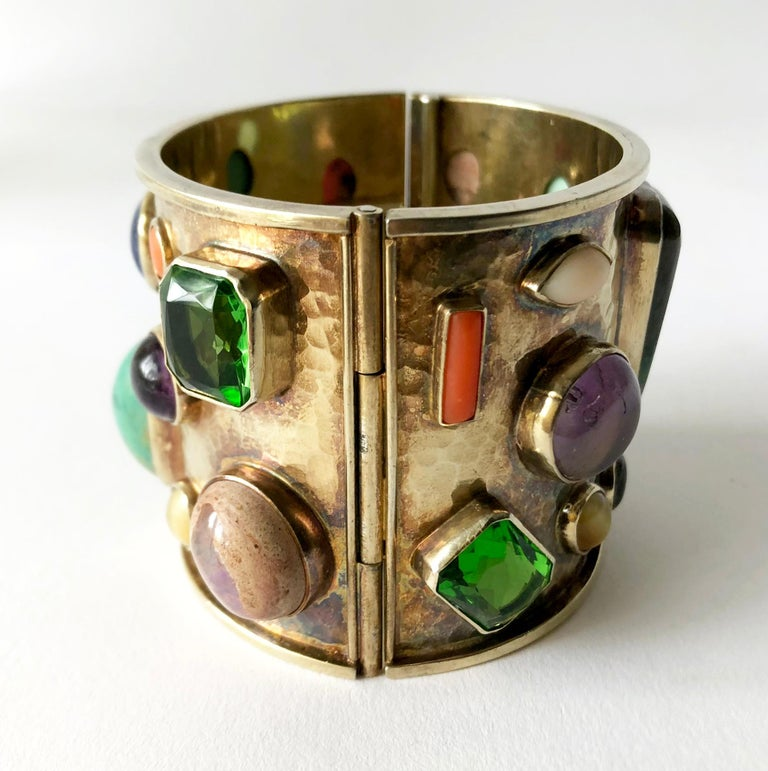 Cabochon Celia Harms Sterling Silver Vermeil Semi Precious Gemstone Hinged Cuff Bracelet For Sale