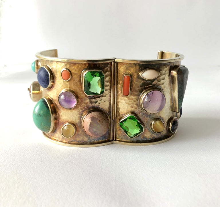Celia Harms Sterling Silver Vermeil Semi Precious Gemstone Hinged Cuff Bracelet In Good Condition For Sale In Los Angeles, CA